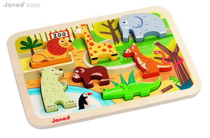 Janod - 07022 - Puzzle en Bois - Chunky Puzzle Zoo: Amazon.fr: Jeux et Jouets