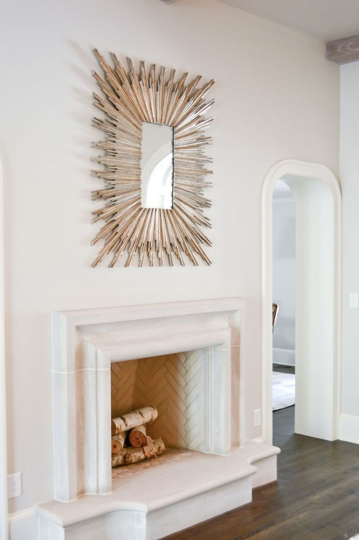 Herringbone Firebox Stone Mantel MirrorsFireplace