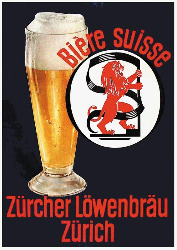 Zürcher Löwenbräu 1954. Bière suisse.
