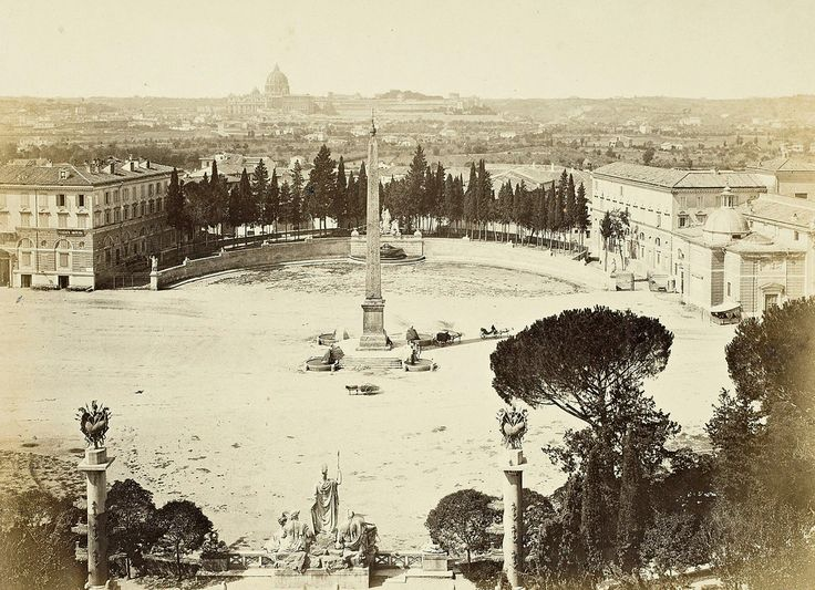 Piazza del Popolo 1860 Rome, Italy