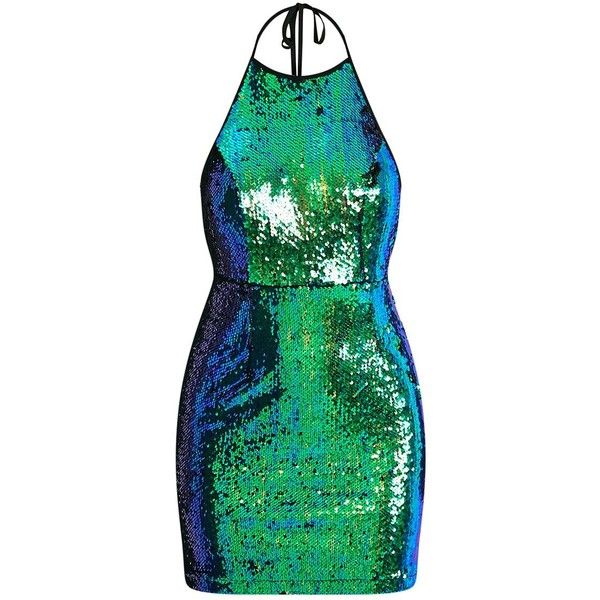 Jeseme Green Sequin Front Bodycon Dress (3970 DZD) via Polyvore featuring dresses, green party dress, green dress, sparkly party dresses, green sparkly dress and sequin cocktail dresses