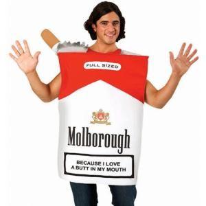 Pakje Sigaretten kostuum Molborough. Grappig en origineel kostuum voor bijvoorbeeld de carnaval. Op het pakje Molborough staat tevens de tekst: because I love a butt in my mouth. Het rokers kostuum is in One Size. Op www.shopwiki.nl #carnaval #verkleden