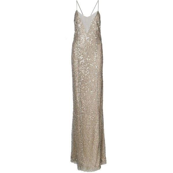 Galvan Open Back Sequined Dress ($1,175) ❤ liked on Polyvore featuring dresses, gold, brown sequin dress, sequin cocktail dresses, open back cocktail dress, brown dress and open back dresses