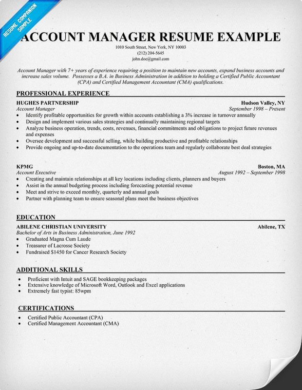 Sample Account Manager Resume | Resume CV Cover Letter
