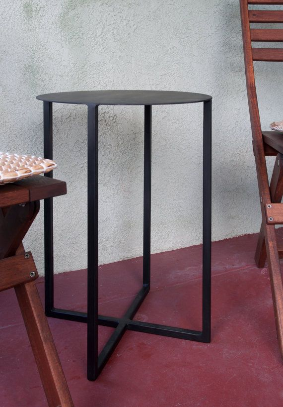Fullerton Round Metal Side Table, Powder Coated Flat Black, Round Diameter  Table Top And Tall Metal Side Table.