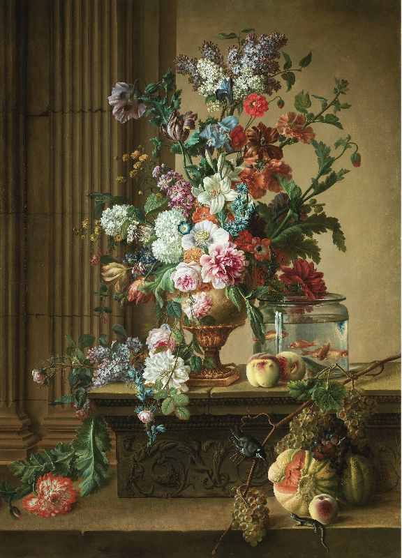"""necspenecmetu: """"Circle of Gerard van Spaendonck, An Elaborate Still Life of Flowers in an Urn Resting on a Stone Ledge with Goldfish in a Glass Bowl, a Melon, and Grapes, late 18th or early 19th..."""