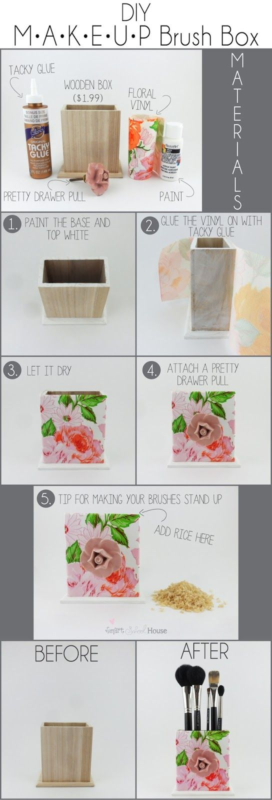 Add rice to make brushed stand upright Smart School House •Pretty Inspirations• : DIY Makeup Brush Box