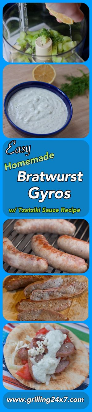 Did you know you can make tasty homemade gyros without the hassle of lamb meat mixes? This recipe uses bratwurst sausages that are sliced thin on warm pitas. A fresh cucumber based Greek Tzatziki sauce recipe is also included. Perfect for a low calorie cookout.