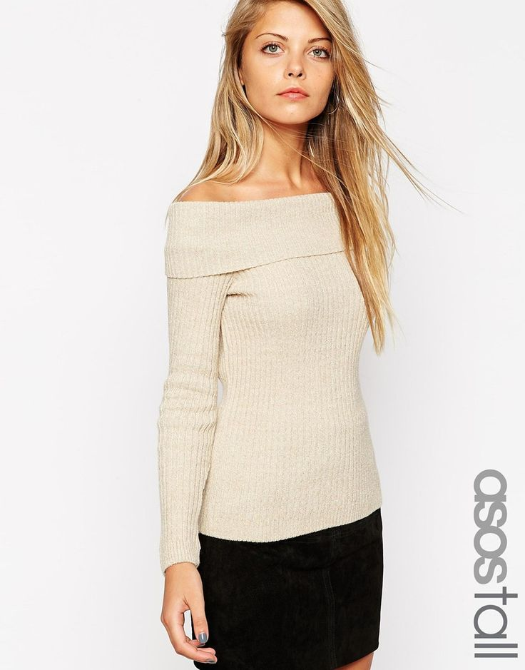 ASOS TALL Rib Jumper with Off Shoulder