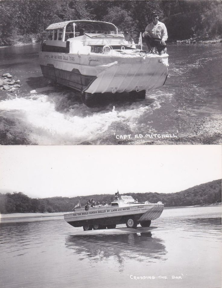 VNTG Set of 4 Post Cards Amphibious Vehicle Land/Water Duck Boat Susan WISCONSIN