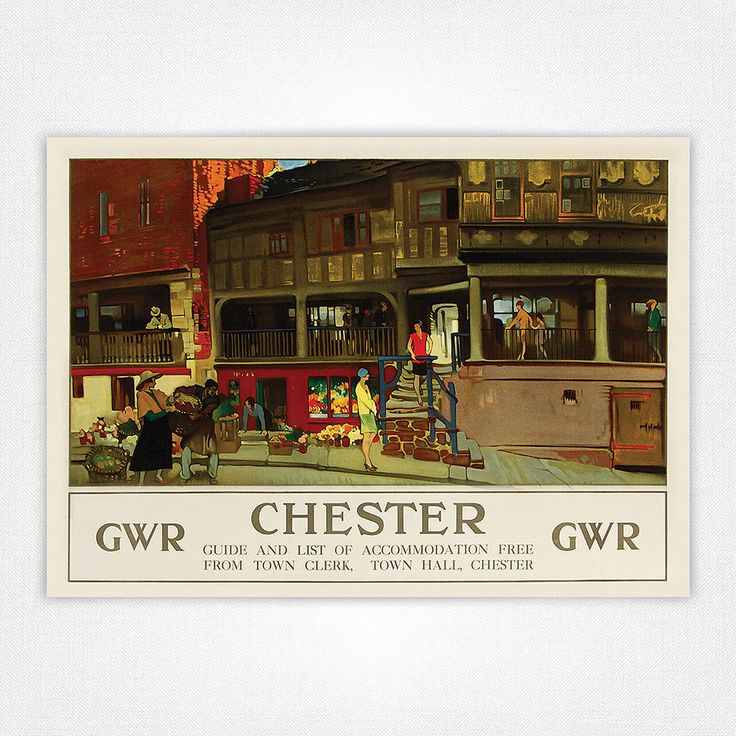 Vintage travel poster railway poster - A4 - Chester Rows | eBay