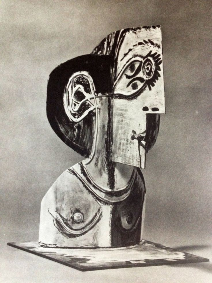 Pablo Picasso, Spanish 1881-1973.  Buste of a Women 1962 metal cutout folded and painted