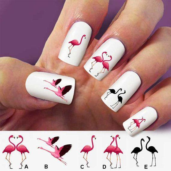 Flamingo, birds, nail art, 60 nail decals, Nail Art design, Water Slide nail Decals,#FL002