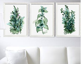 Herbs Kitchen Art Prints Set 3, Green Leaves Mint Rosemary Thyme, Watercolor Kitchen Herbs, Herbs Print, Minimalist Illustration