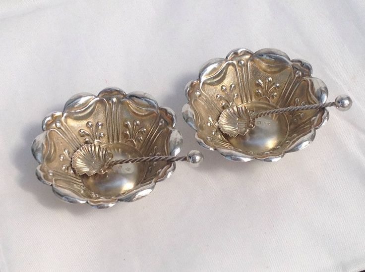 Superb Victorian Pair Of Solid Silver Salts And Spoons, 1898- Charles Horner.     | eBay