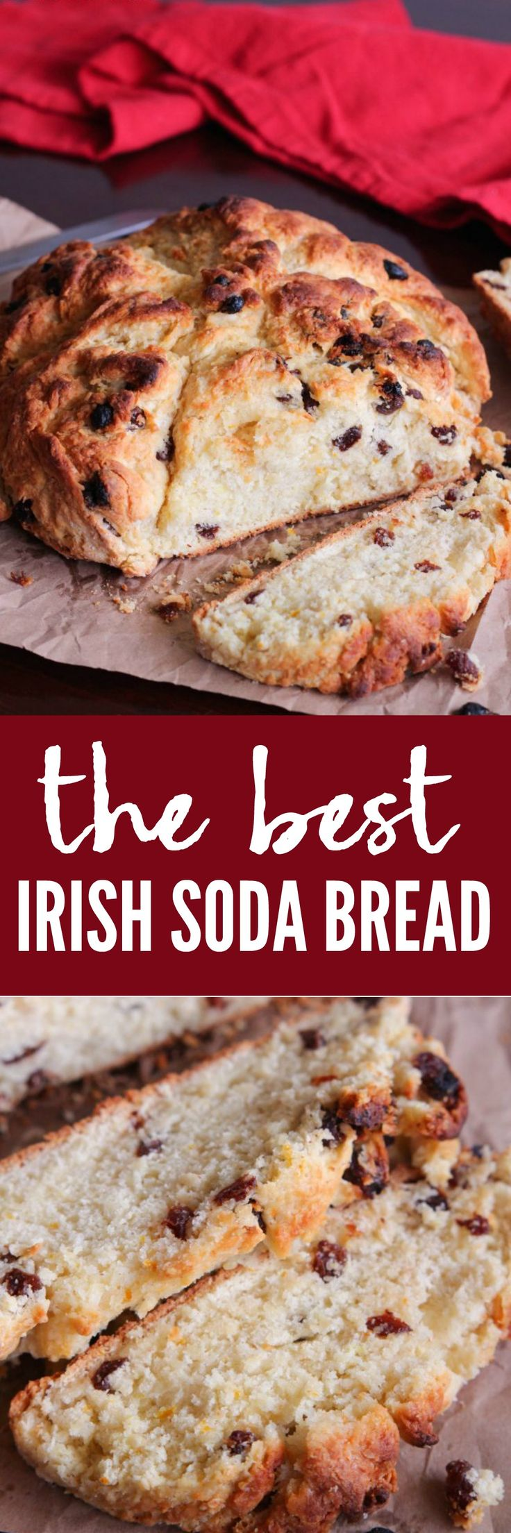 The Best Irish Soda Bread is so easy to make and comes out with a crisp buttery crust and soft center. It has orange zest and raisins to add an amazing flavor. This will become a new favorite bread!
