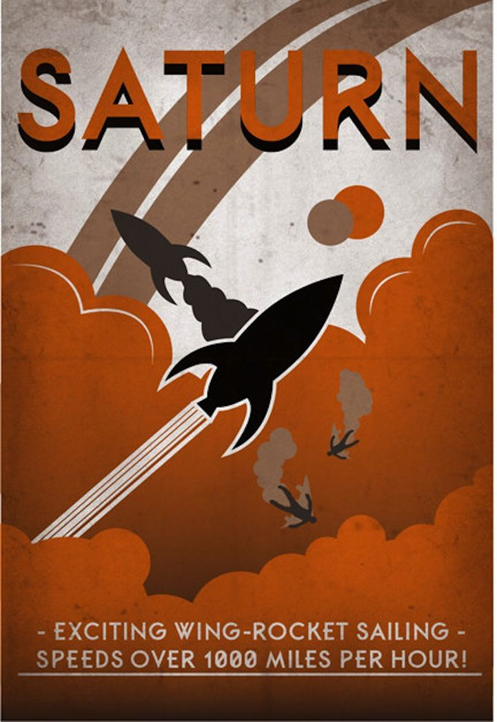 Saturn | Retro poster by Luke Minner and Naomi Wilson, Indelible Ink Workshop