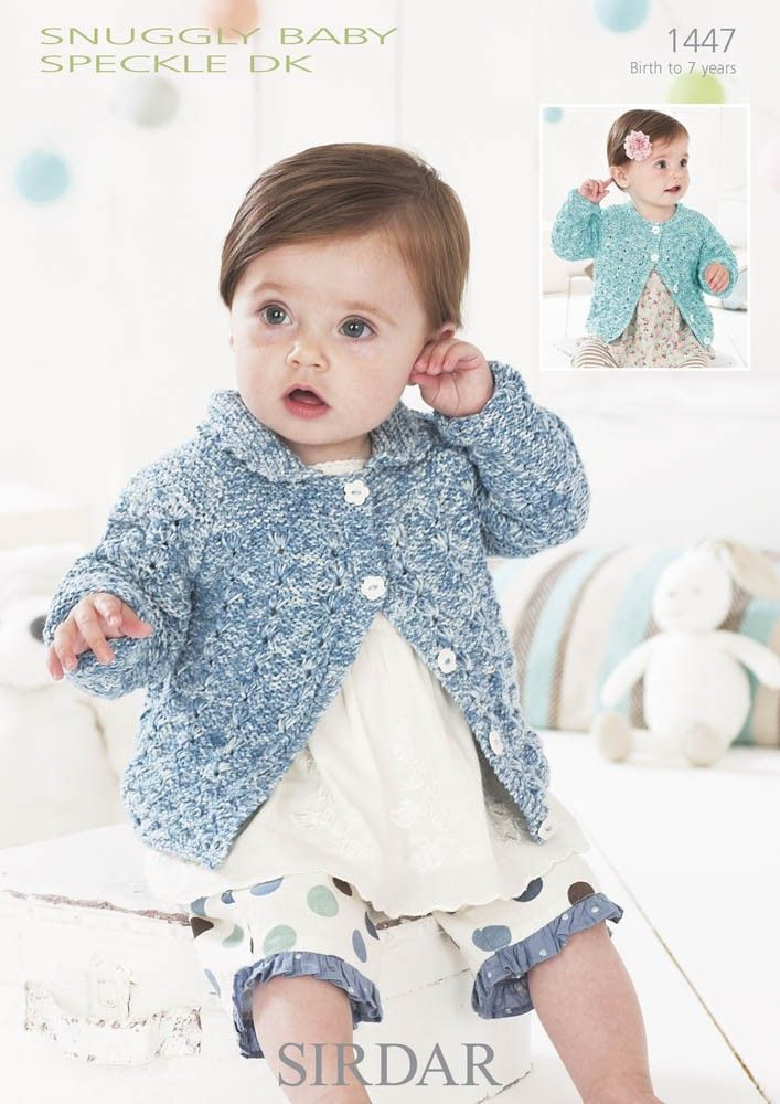 Girls Cardigans In Snuggly Baby Speckle Dk 1447 Babies