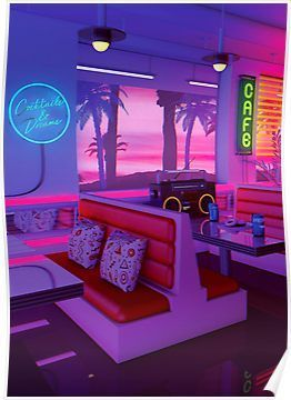 Cocktails And Dreams Poster In 2019 Neon Aesthetic Art