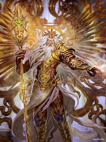 """Es el «padre de los dioses y los hombres»,1 que gobernaba a los dioses del monte Olimpo como un padre a una familia, de forma que incluso los que no eran sus hijos naturales se dirigían a él como tal. Era el """"Rey de los dioses"""" que supervisaba el universo. Era el dios del cielo y el trueno. Sus atributos incluyen el rayo, el águila, el toro y roble.Hijo de Crono y Rea, era el más joven de sus descendientes"""