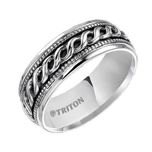 Triton 7mm Sterling Silver Ring with Spiral Design and Milgrain