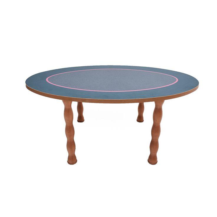 Tavolo decorato Ettore Sottsass per Zanotta made in Italy anni 80 grigio marrone e rosa