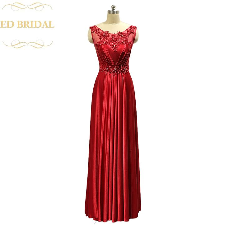 Floor Length Satin Red Long Evening Party Dresses Pearls Beaded Red Formal Evening Gown Prom Dress vestidos de fiesta #Affiliate