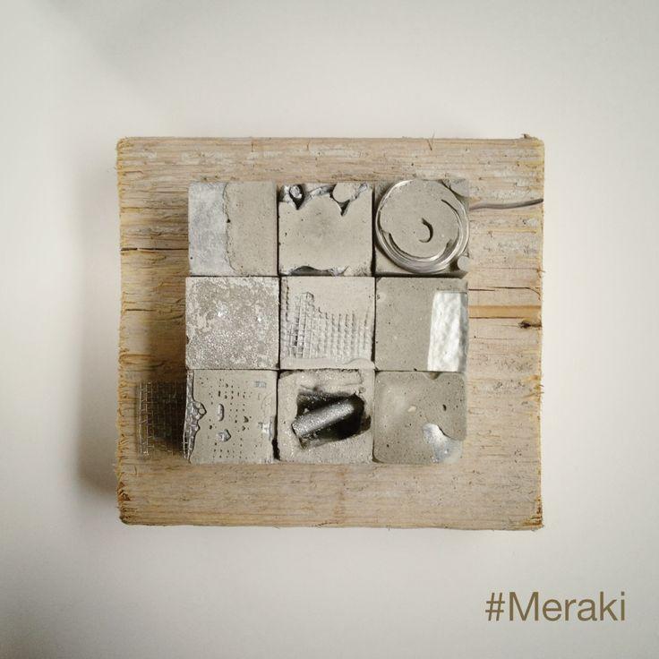 My Meraki - Reperti urbani 04. Cemento, filo elettrico, rete metallica, vetro, legno da cassero.