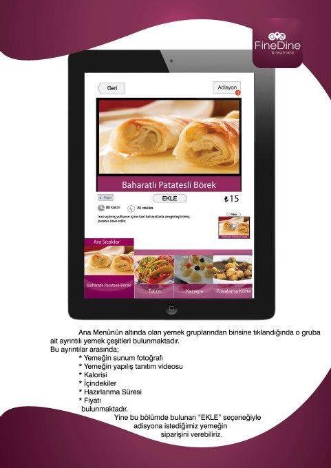 Menü içerikleri, menü anlatımı, kalori.  http://www.finedinemenu.com/