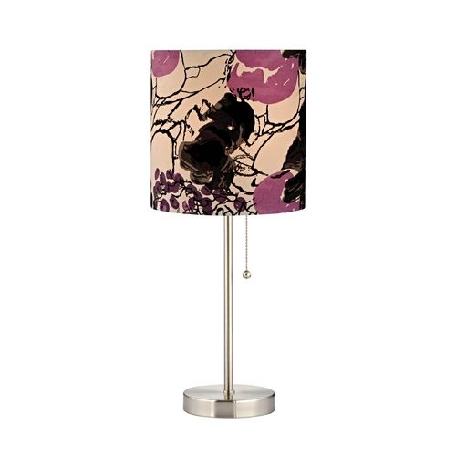 pull chain table lamp with floral print drum shade. Black Bedroom Furniture Sets. Home Design Ideas