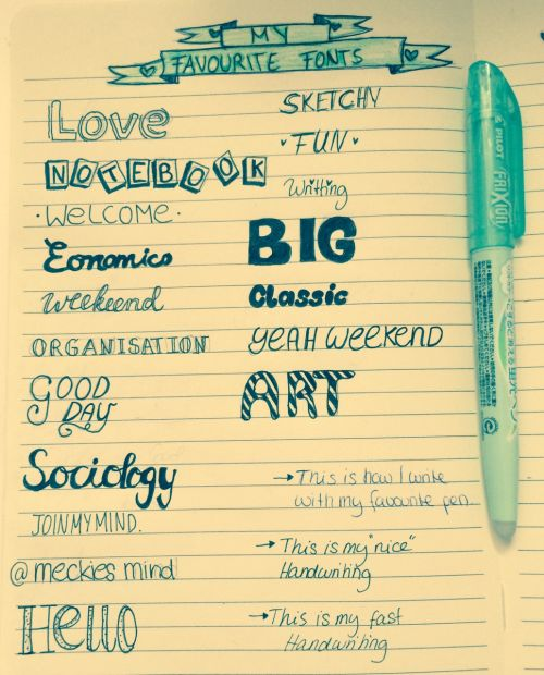 Why have different fonts for journaling? Why not? Here is some good font inspiration to get you motivated!