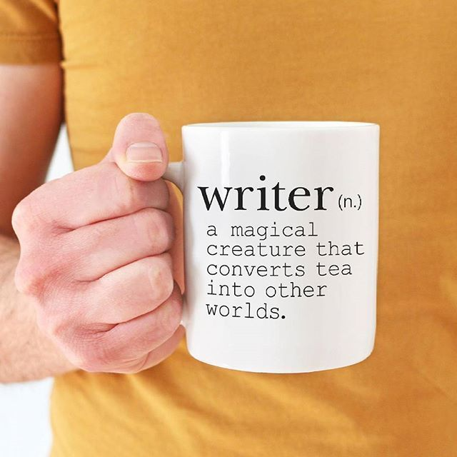 Do you know any writers? Give them a hug / high five for me. We are SO LUCKY that so many people pursue writing. It's a really tough gig especially when you're just starting out. Imagine a world without all those stories... shudder  If you want to be EXTRA encouraging you can buy this mug for them in my store :D It also comes with a coffee definition version so you're covered for whatever their inspirational drink of choice is :D . . . #booknerd #bookaddict #readingaddict #readmorebooks…