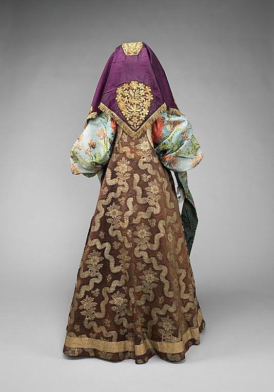 Russia, ensemble, silk, cotton, metal, late 18th - 19th Century, back view