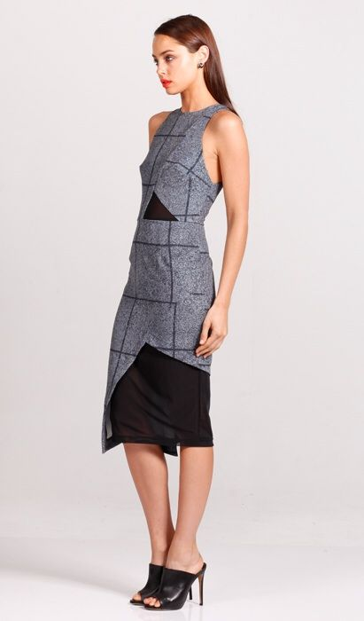 Pasduchas - Gridwork Angle Midi Dress