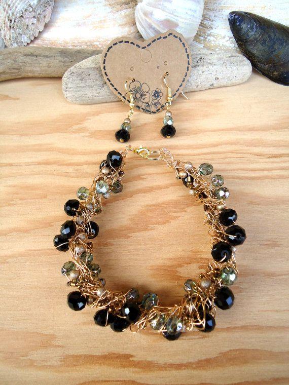 Crochet Wire Bracelet & Earring Set