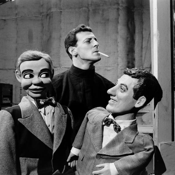 Ventriloquism ~ Paul Winchell with Jerry Mahoney and look-a-like dummy. (Remember Knucklehead Smith?)