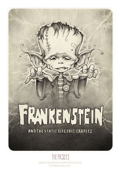 It's almost Halloween again and this year we decide we're going to dress up like scary old movie posters. We've not seen the movies cause we're not allowed to watch scary movies so we just guessed what the movies are about...like this one. It's a movie called Frankenstein and from the poster picture we could see it's obviously about a wee little monster that sneaks up and give you static electric shocks on your ear when you are not looking...