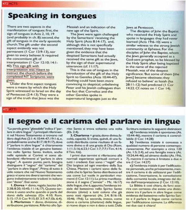Le manipolazioni delle ADI de 'Il Nuovo Commentario Biblico Illustrato di M. F. Unger': «Sulle lingue e i doni dello Spirito Santo»