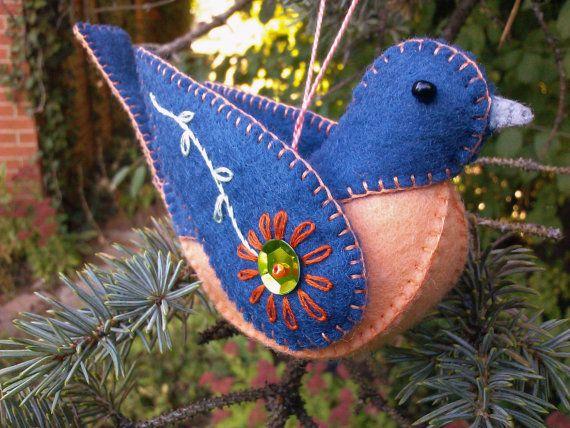Wool Felt Bluebird Ornament Felt Bird by PatriciaWelchDesigns
