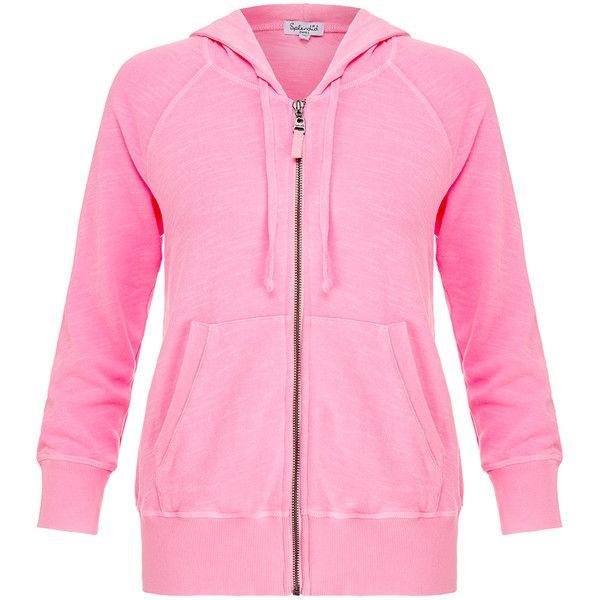 Splendid Pink Slub Active Pink Hoodie ($100) ❤ liked on Polyvore featuring tops, hoodies, pink, cotton hooded sweatshirt, pink top, cotton hoodie, cotton hoodies and pink hoodie