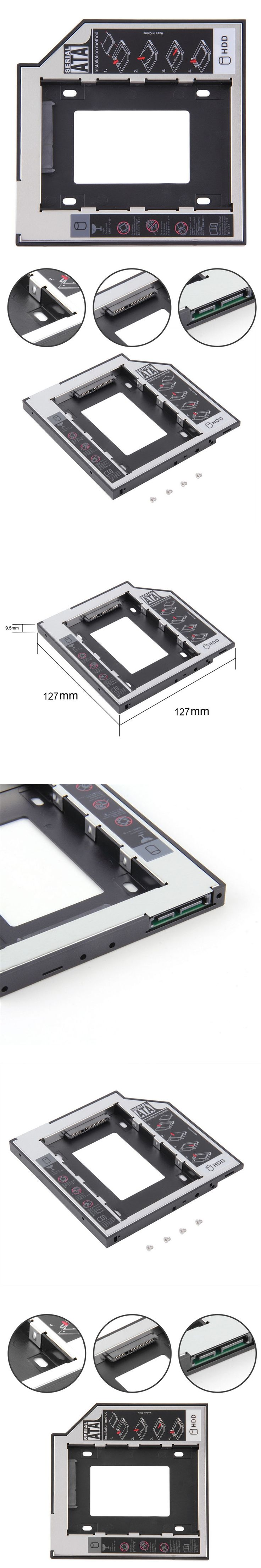 12.7mm SATA 2nd HDD Caddy for SSD Case Hard Disk Drive Enclosure Bay for ThinkPad E420 E425 E430 L410