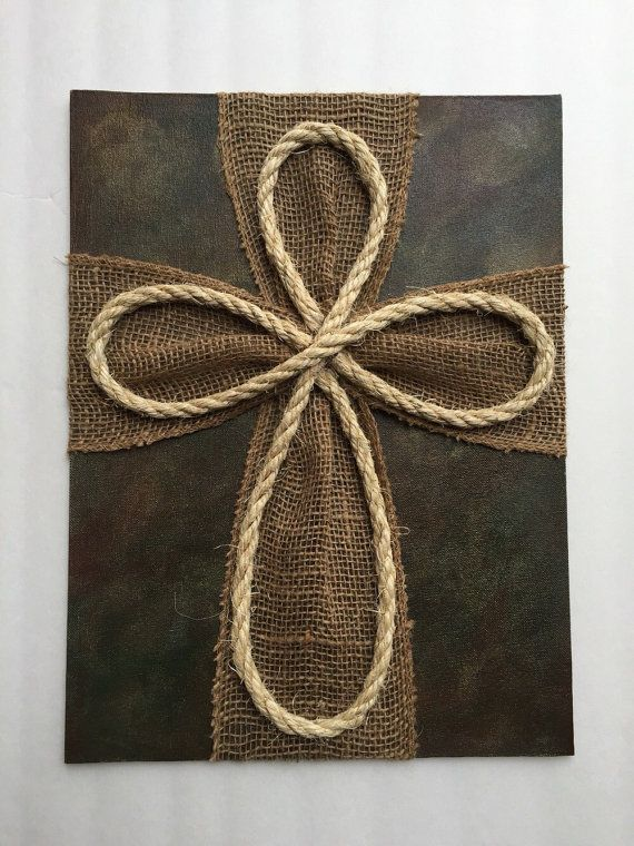 Burlap Cross on Camo Painted Canvas by MyCraftyCreations15 on Etsy