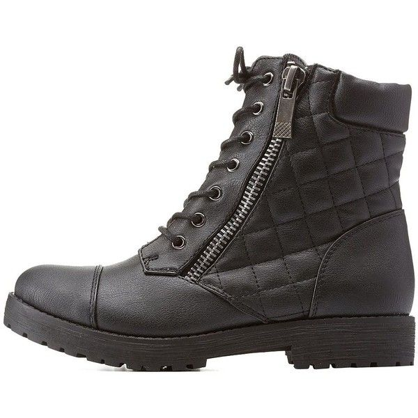 Charlotte Russe Black Bamboo Quilted Combat Booties by Bamboo at... ($43) ❤ liked on Polyvore featuring shoes, boots, ankle booties, black, black bootie, short combat boots, combat booties, army combat boots y ankle boots