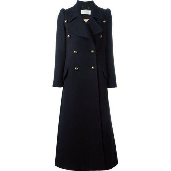 Chloe Compact Felted Wool Coat in Navy ❤ liked on Polyvore featuring outerwear, coats, navy coat, navy blue coat, felted wool coat and blue coat