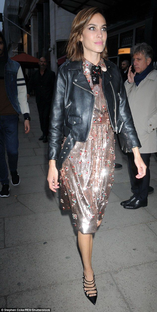 Fashionista: Alexa Chung picked the perfect party dress in the form of her glitzy bronze number