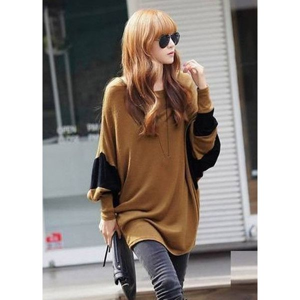 Batwing Sleeve Round Neck T Shirt ($14) ❤ liked on Polyvore featuring tops, t-shirts, outfit, color block, pattern t shirts, long length t shirts, round neck t shirt, collared t shirt and print t shirts