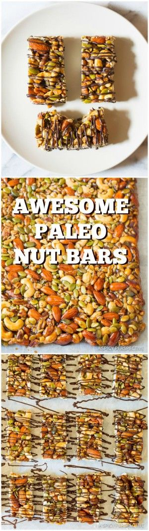 Crazy Over These Kid-Friendly Paleo Nut Bar Recipe with Chocolate Drizzle. A healthy snack bar recipe that is full of clean eating ingredients. These bars combine a ton of different nuts and seeds to provide lots of healthy fats to your diet. Pin this clean eating snack recipe now to make later.