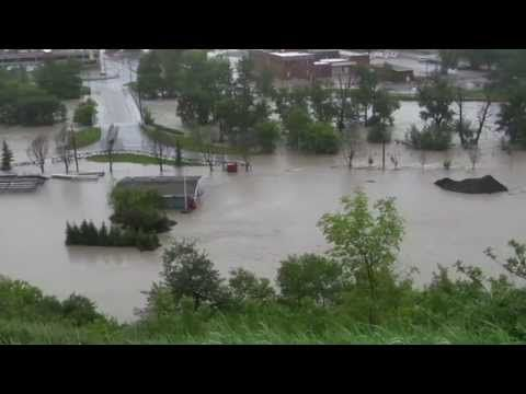 Calgary Flood - June 21/2013 - View of Stampede Grounds and Bus Barns from Scottsman's Hill
