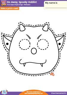 """Go Away, Spooky Goblin!"" Make A Mask Halloween Worksheet from Super Simple Learning. #preK #kindergarten #earlyelementary #ESL"
