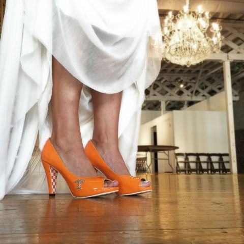 Tennessee Vol Heel - The Shauna Peep Toe ~ Check this out too ~ RollTideWarEagle.com sports stories that inform and entertain, plus #collegefootball rules tutorial. Check out our blog and let us know what you think. #Vols #CFB #SEC